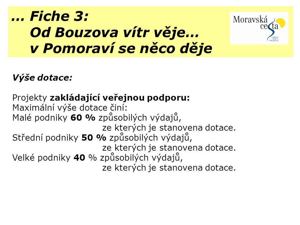 … Fiche 3: Od Bouzova vítr věje… v Pomoraví se něco děje Výše dotace: Projekty zakládající veřejnou podporu: Maximální výše dotace činí: Malé podniky