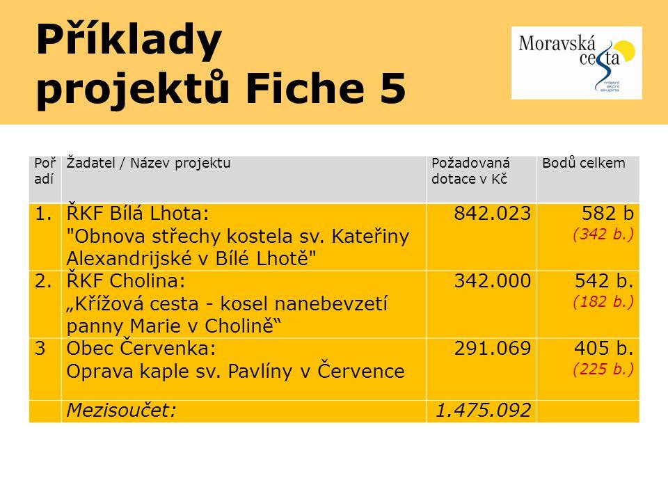 Příklady projektů Fiche 5 Poř adí Žadatel / Název projektu Požadovaná dotace v Kč Bodů celkem 1. ŘKF Bílá Lhota: