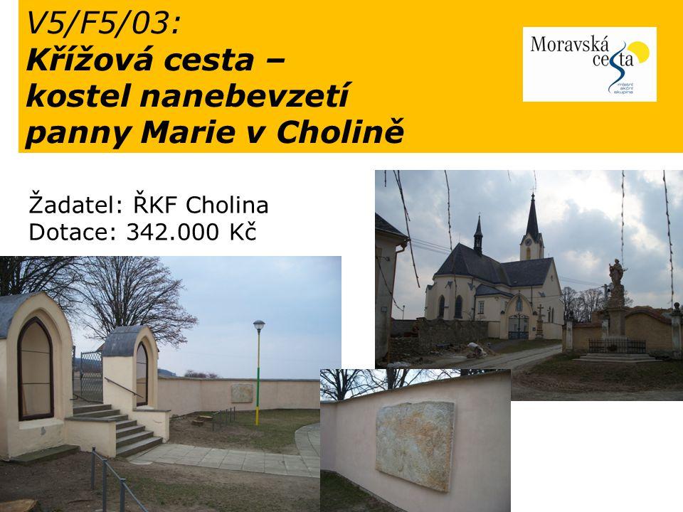 V5/F5/03: Křížová cesta – kostel nanebevzetí panny Marie v Cholině Žadatel: ŘKF Cholina Dotace: 342.000 Kč