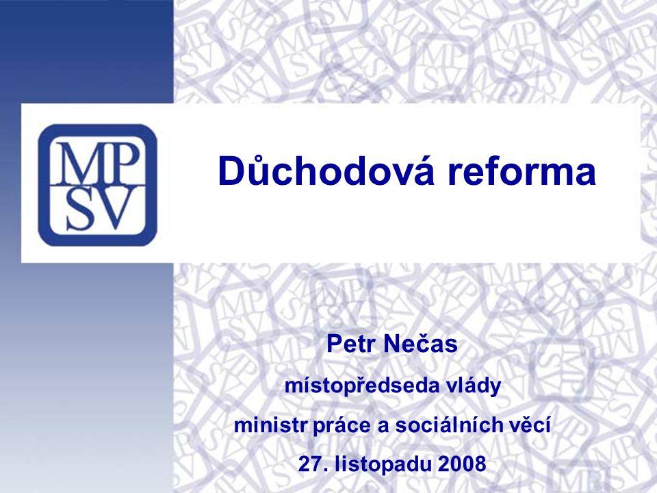 Petr Nečas místopředseda vlády ministr práce a sociálních věcí 27. listopadu 2008 Důchodová reforma