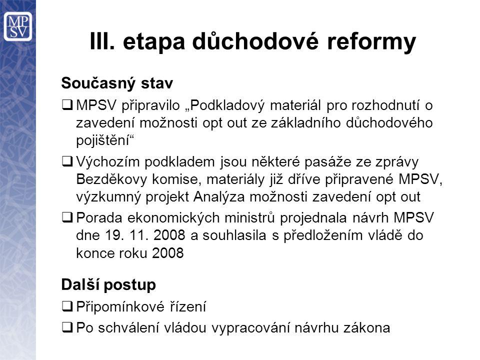 """III. etapa důchodové reformy Současný stav  MPSV připravilo """"Podkladový materiál pro rozhodnutí o zavedení možnosti opt out ze základního důchodového"""