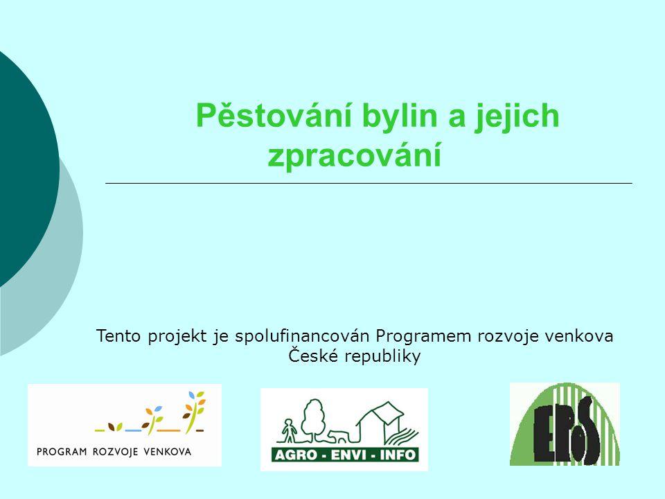 Pěstování bylin a jejich zpracování Tento projekt je spolufinancován Programem rozvoje venkova České republiky