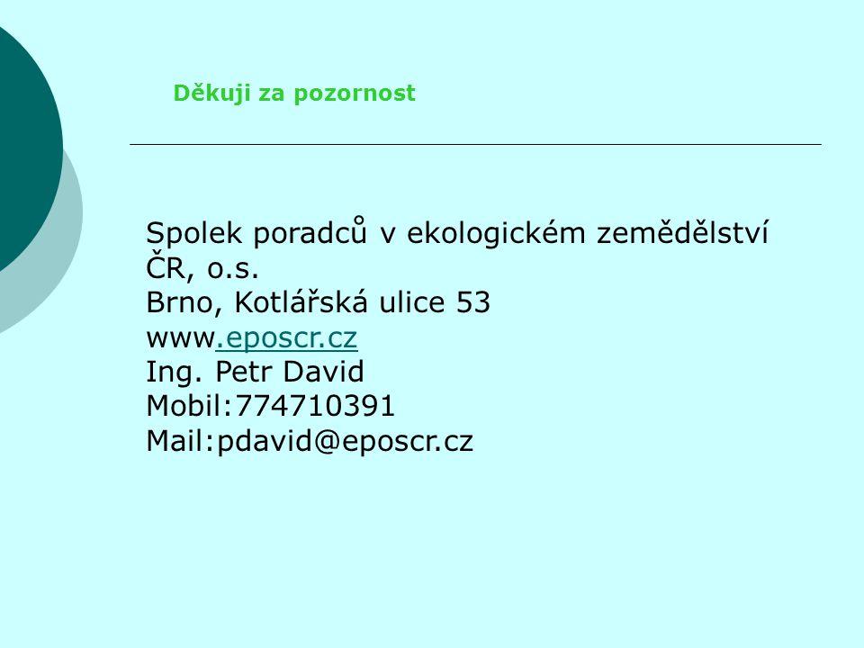 Děkuji za pozornost Spolek poradců v ekologickém zemědělství ČR, o.s. Brno, Kotlářská ulice 53 www.eposcr.cz.eposcr.cz Ing. Petr David Mobil:774710391