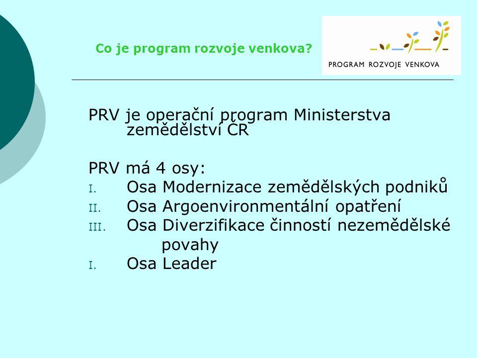 PRV je operační program Ministerstva zemědělství ČR PRV má 4 osy: I. Osa Modernizace zemědělských podniků II. Osa Argoenvironmentální opatření III. Os