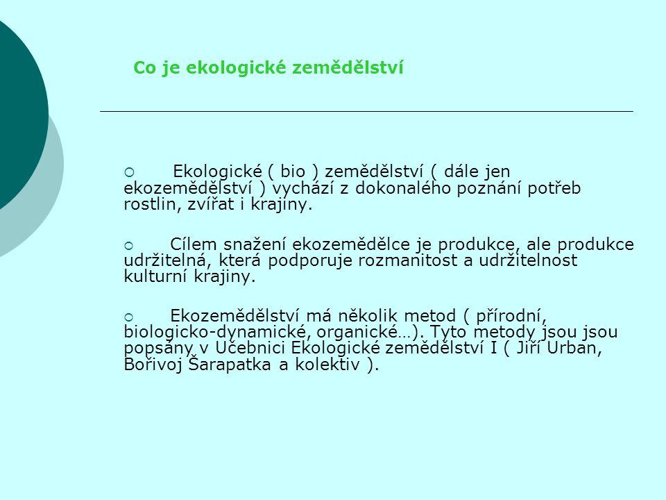Ekozemědělství je zemědělská výroba, která splňuje podmínky stanovené platnou legislativou: Nařízením rady EHS 2092/1991, Zákonem č.242/2000 Sb.(novela č.553/2005 Sb.) Vyhláškou Mze ČR č.16/2006 Sb.