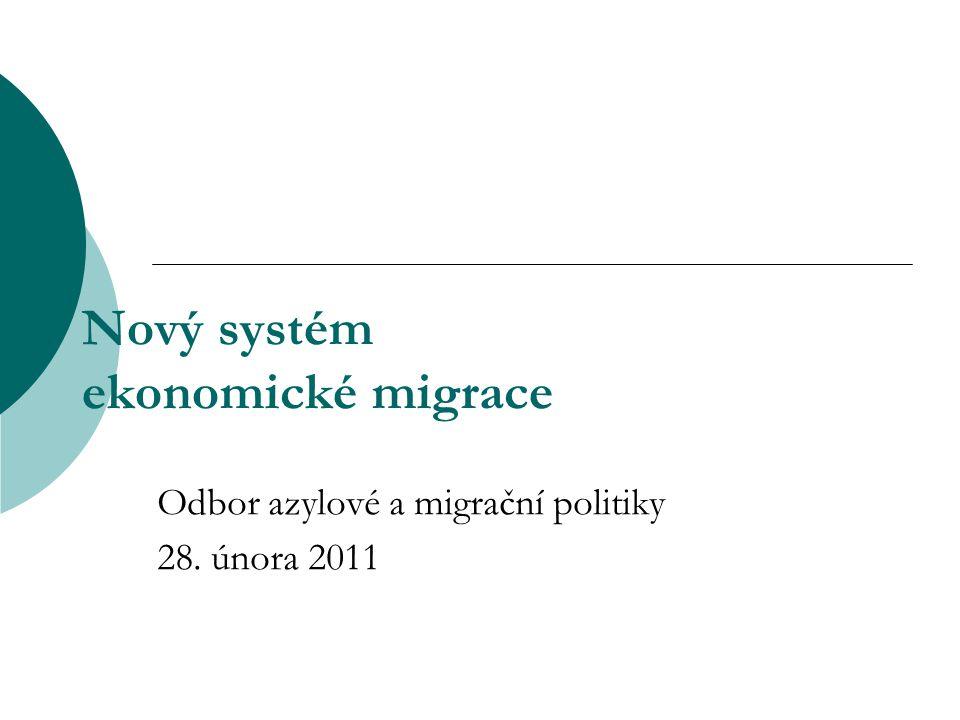 Nový systém ekonomické migrace Odbor azylové a migrační politiky 28. února 2011
