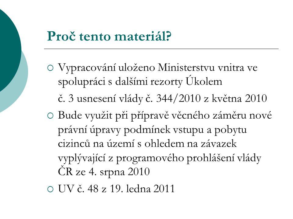 Proč tento materiál?  Vypracování uloženo Ministerstvu vnitra ve spolupráci s dalšími rezorty Úkolem č. 3 usnesení vlády č. 344/2010 z května 2010 