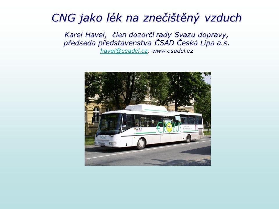 CNG jako lék na znečištěný vzduch Karel Havel, člen dozorčí rady Svazu dopravy, předseda představenstva ČSAD Česká Lípa a.s. CNG jako lék na znečištěn