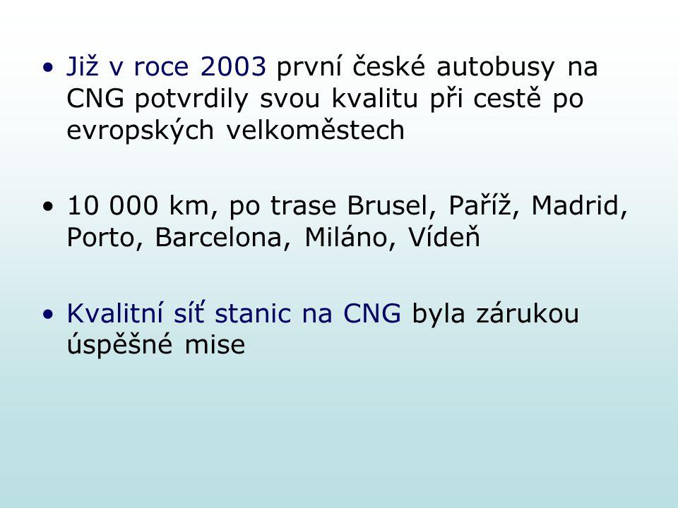 Již v roce 2003 první české autobusy na CNG potvrdily svou kvalitu při cestě po evropských velkoměstech 10 000 km, po trase Brusel, Paříž, Madrid, Por