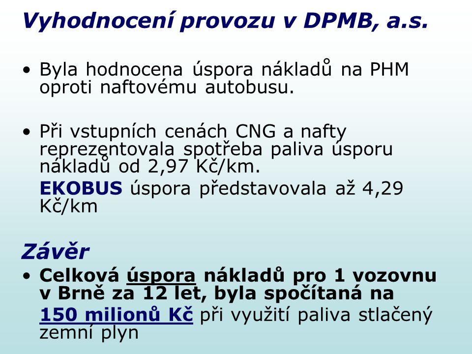Vyhodnocení provozu v DPMB, a.s. Byla hodnocena úspora nákladů na PHM oproti naftovému autobusu. Při vstupních cenách CNG a nafty reprezentovala spotř