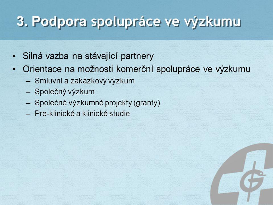 3. Podpora spolupráce ve výzkumu Silná vazba na stávající partnery Orientace na možnosti komerční spolupráce ve výzkumu –Smluvní a zakázkový výzkum –S