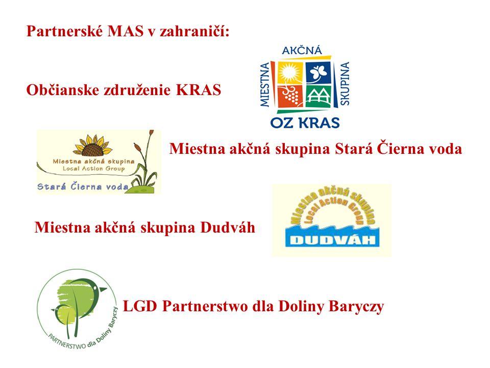 Partnerské MAS v zahraničí: Občianske združenie KRAS Miestna akčná skupina Stará Čierna voda Miestna akčná skupina Dudváh LGD Partnerstwo dla Doliny B