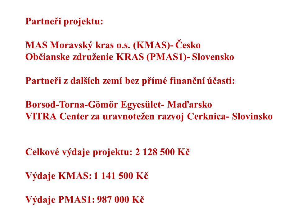 Partneři projektu: MAS Moravský kras o.s. (KMAS)- Česko Občianske združenie KRAS (PMAS1)- Slovensko Partneři z dalších zemí bez přímé finanční účasti:
