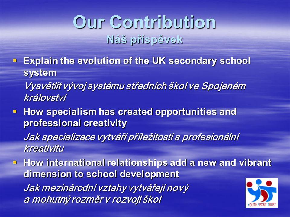 Our Contribution Náš příspěvek  Explain the evolution of the UK secondary school system Vysvětlit vývoj systému středních škol ve Spojeném království