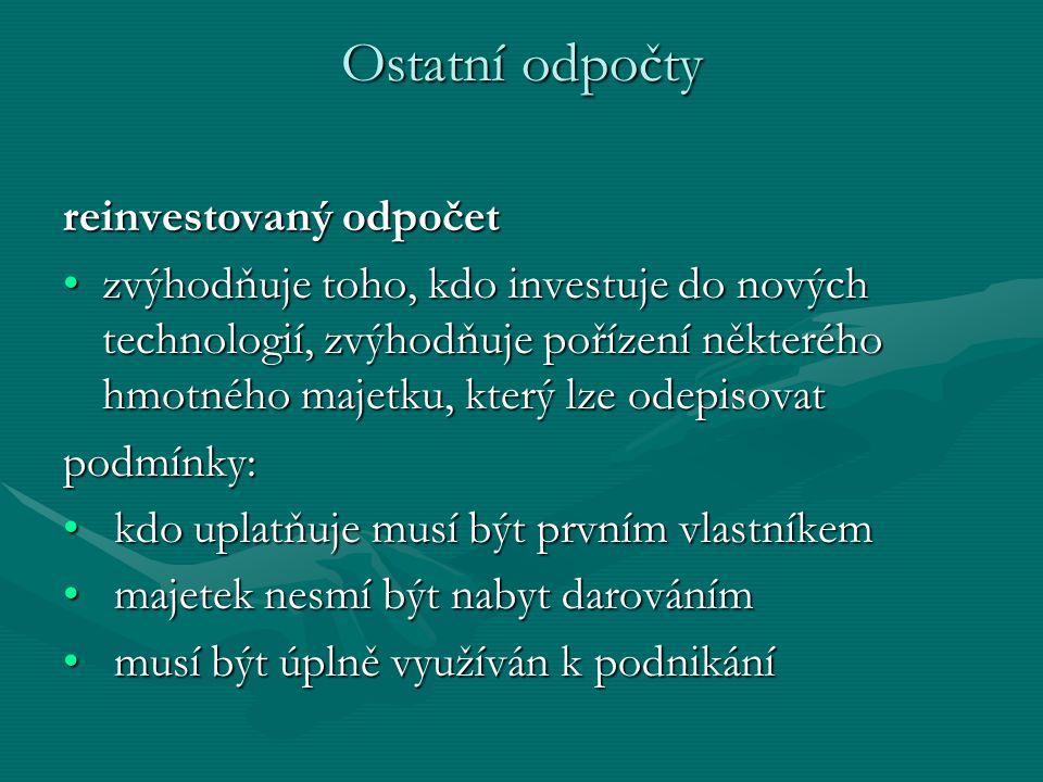 Ostatní odpočty reinvestovaný odpočet zvýhodňuje toho, kdo investuje do nových technologií, zvýhodňuje pořízení některého hmotného majetku, který lze odepisovatzvýhodňuje toho, kdo investuje do nových technologií, zvýhodňuje pořízení některého hmotného majetku, který lze odepisovatpodmínky: kdo uplatňuje musí být prvním vlastníkem kdo uplatňuje musí být prvním vlastníkem majetek nesmí být nabyt darováním majetek nesmí být nabyt darováním musí být úplně využíván k podnikání musí být úplně využíván k podnikání