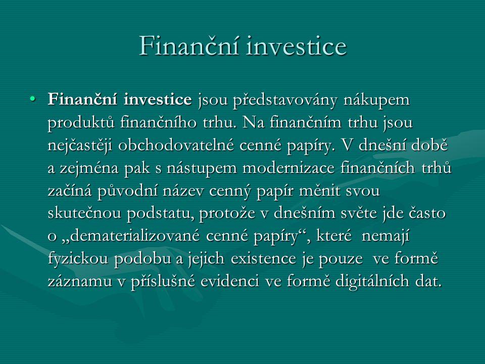 Finanční investice Finanční investice jsou představovány nákupem produktů finančního trhu.