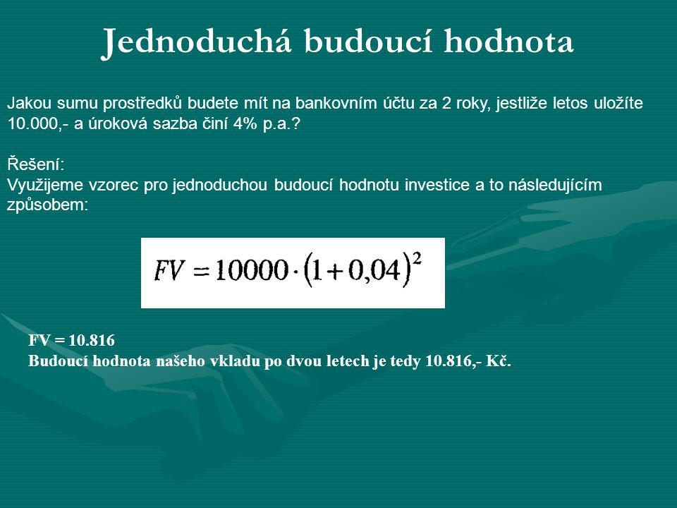 Jednoduchá budoucí hodnota Jakou sumu prostředků budete mít na bankovním účtu za 2 roky, jestliže letos uložíte 10.000,- a úroková sazba činí 4% p.a..