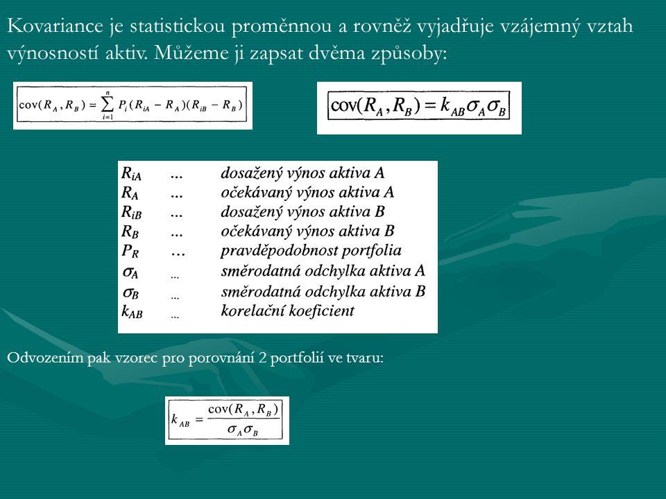 Kovariance je statistickou proměnnou a rovněž vyjadřuje vzájemný vztah výnosností aktiv.