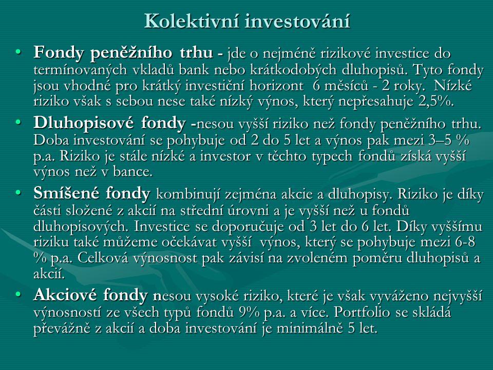 Kolektivní investování Fondy peněžního trhu - jde o nejméně rizikové investice do termínovaných vkladů bank nebo krátkodobých dluhopisů.