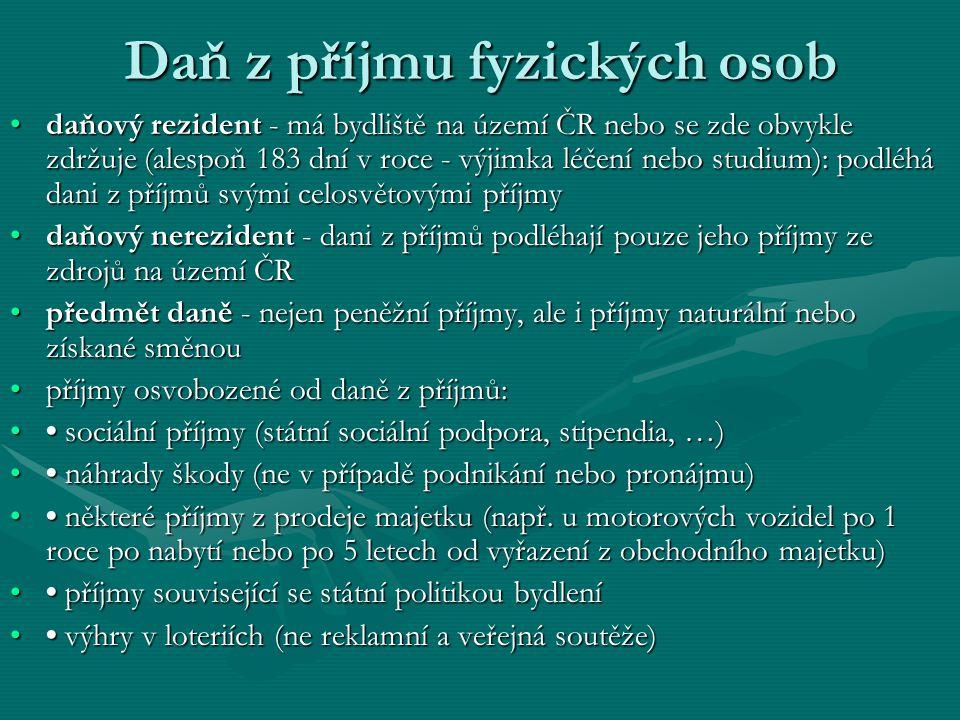 Daň z příjmu fyzických osob daňový rezident - má bydliště na území ČR nebo se zde obvykle zdržuje (alespoň 183 dní v roce - výjimka léčení nebo studium): podléhá dani z příjmů svými celosvětovými příjmydaňový rezident - má bydliště na území ČR nebo se zde obvykle zdržuje (alespoň 183 dní v roce - výjimka léčení nebo studium): podléhá dani z příjmů svými celosvětovými příjmy daňový nerezident - dani z příjmů podléhají pouze jeho příjmy ze zdrojů na území ČRdaňový nerezident - dani z příjmů podléhají pouze jeho příjmy ze zdrojů na území ČR předmět daně - nejen peněžní příjmy, ale i příjmy naturální nebo získané směnoupředmět daně - nejen peněžní příjmy, ale i příjmy naturální nebo získané směnou příjmy osvobozené od daně z příjmů:příjmy osvobozené od daně z příjmů: sociální příjmy (státní sociální podpora, stipendia, …) sociální příjmy (státní sociální podpora, stipendia, …) náhrady škody (ne v případě podnikání nebo pronájmu) náhrady škody (ne v případě podnikání nebo pronájmu) některé příjmy z prodeje majetku (např.