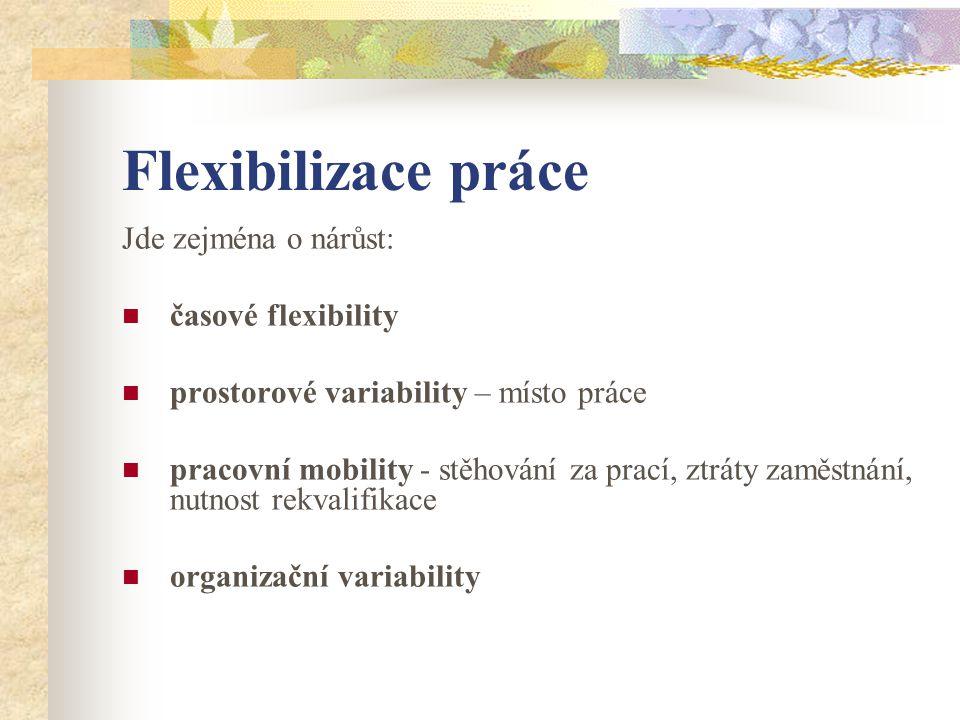 Flexibilizace práce Jde zejména o nárůst: časové flexibility prostorové variability – místo práce pracovní mobility - stěhování za prací, ztráty zaměstnání, nutnost rekvalifikace organizační variability