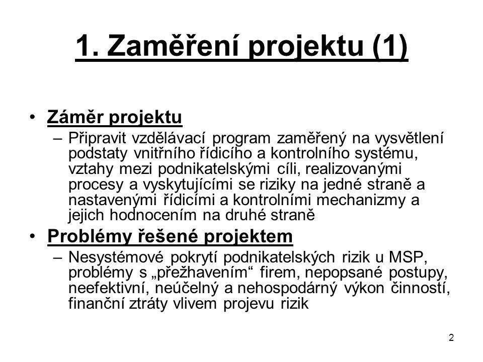 2 1. Zaměření projektu (1) Záměr projektu –Připravit vzdělávací program zaměřený na vysvětlení podstaty vnitřního řídicího a kontrolního systému, vzta