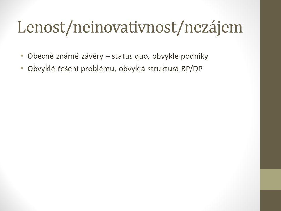 Lenost/neinovativnost/nezájem Obecně známé závěry – status quo, obvyklé podniky Obvyklé řešení problému, obvyklá struktura BP/DP