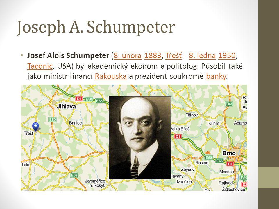 Joseph A. Schumpeter Josef Alois Schumpeter (8. února 1883, Třešť - 8. ledna 1950, Taconic, USA) byl akademický ekonom a politolog. Působil také jako