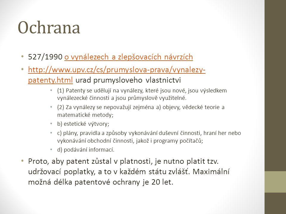 Ochrana 527/1990 o vynálezech a zlepšovacích návrzícho vynálezech a zlepšovacích návrzích http://www.upv.cz/cs/prumyslova-prava/vynalezy- patenty.html
