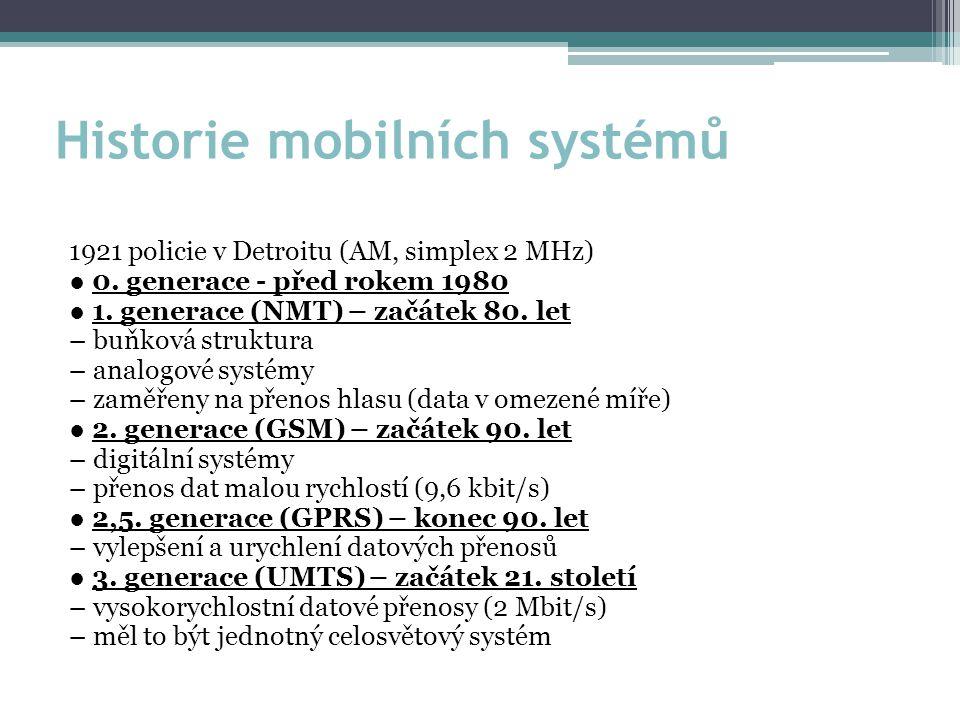 Historie mobilních systémů 1921 policie v Detroitu (AM, simplex 2 MHz) ● 0.