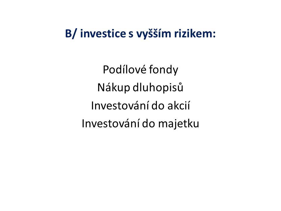 B/ investice s vyšším rizikem: Podílové fondy Nákup dluhopisů Investování do akcií Investování do majetku