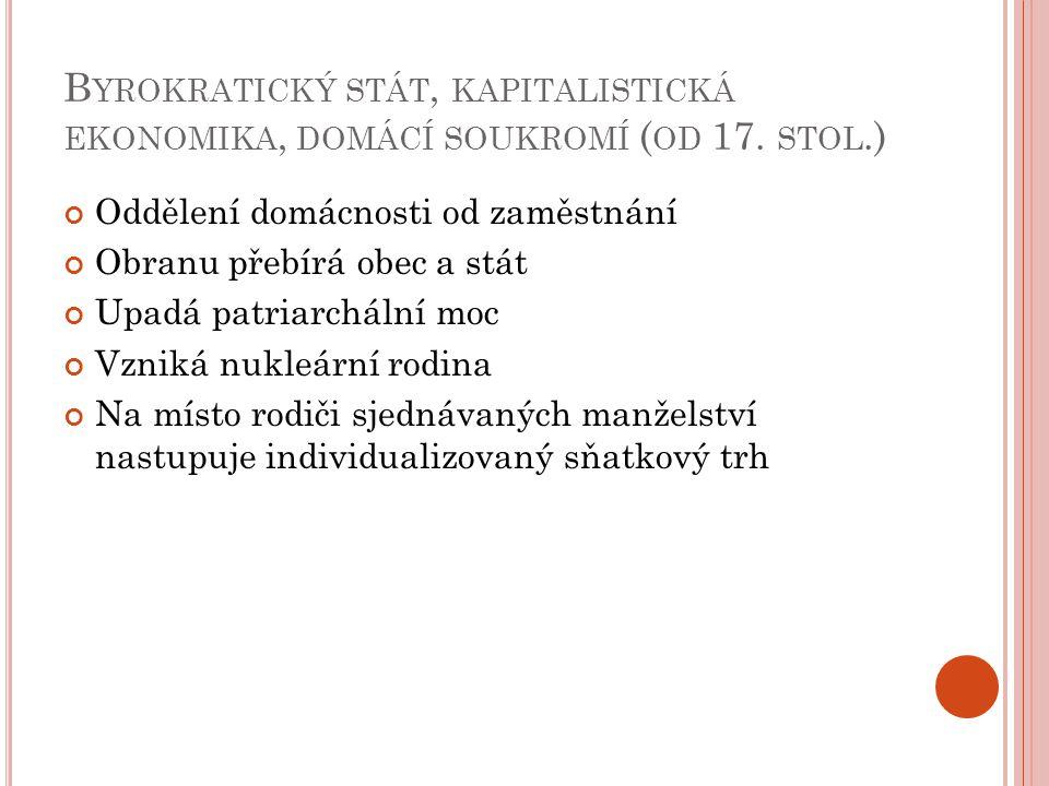 B YROKRATICKÝ STÁT, KAPITALISTICKÁ EKONOMIKA, DOMÁCÍ SOUKROMÍ ( OD 17.