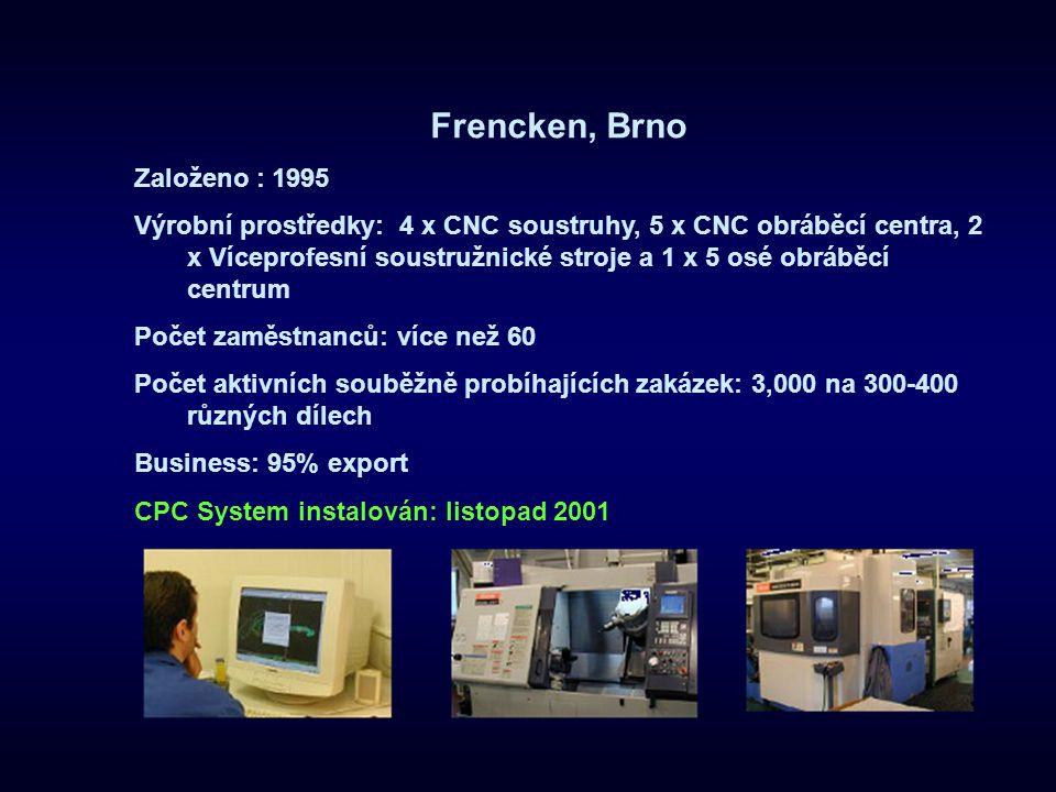 Frencken, Brno Založeno : 1995 Výrobní prostředky: 4 x CNC soustruhy, 5 x CNC obráběcí centra, 2 x Víceprofesní soustružnické stroje a 1 x 5 osé obráb