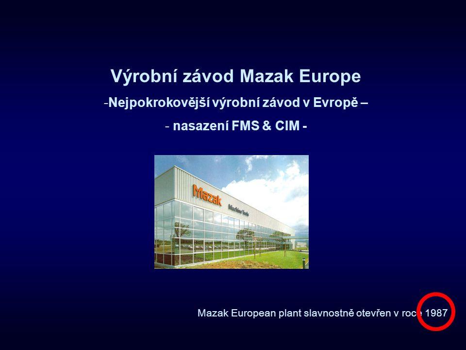 Provoz v evropském závodě Mazak Real Time Machine Monitor
