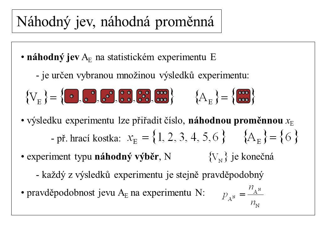 náhodný jev A E na statistickém experimentu E - je určen vybranou množinou výsledků experimentu: výsledku experimentu lze přiřadit číslo, náhodnou proměnnou x E - př.