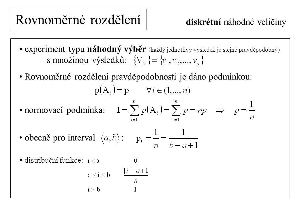 Rovnoměrné rozdělení experiment typu náhodný výběr (každý jednotlivý výsledek je stejně pravděpodobný) s množinou výsledků: Rovnoměrné rozdělení pravděpodobnosti je dáno podmínkou: normovací podmínka: obecně pro interval : distribuční funkce: diskrétní náhodné veličiny