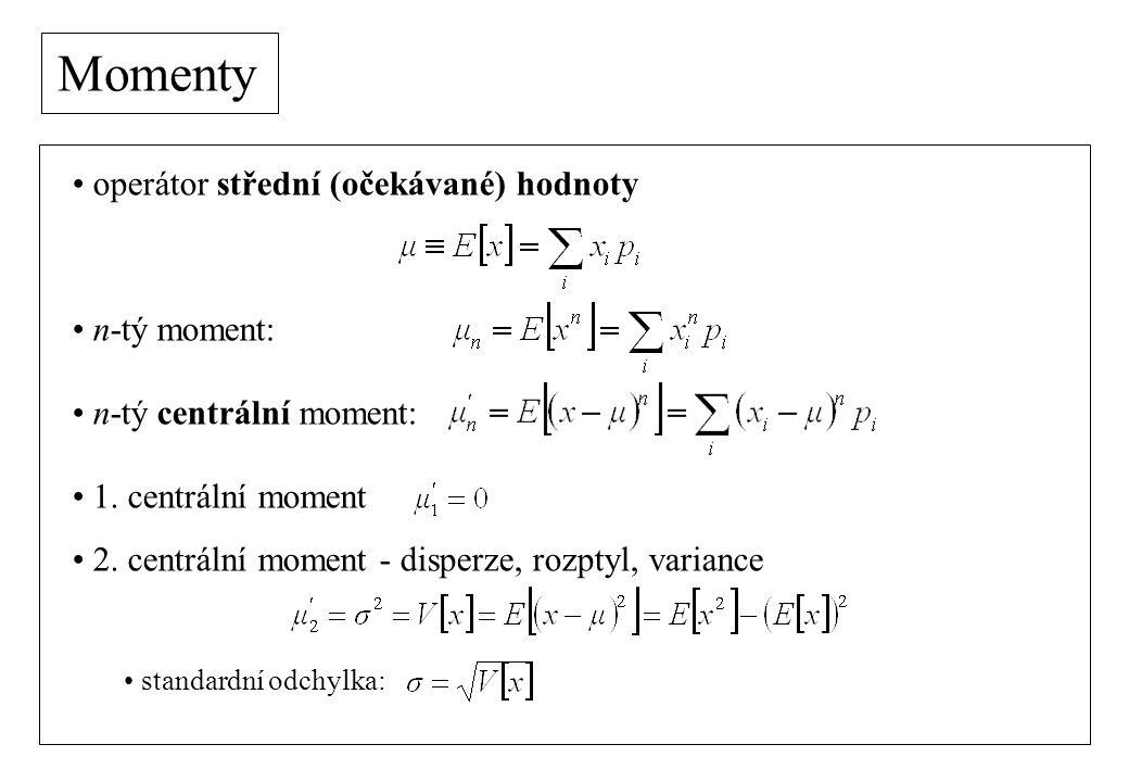 Momenty operátor střední (očekávané) hodnoty n-tý moment: n-tý centrální moment: 1.
