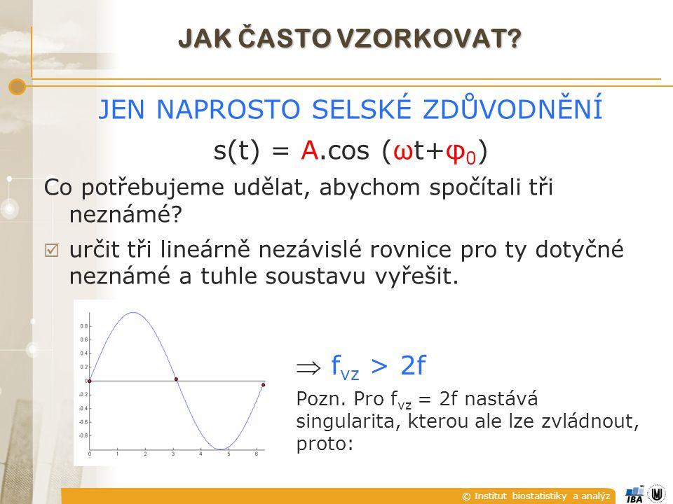 © Institut biostatistiky a analýz JAK Č ASTO VZORKOVAT.