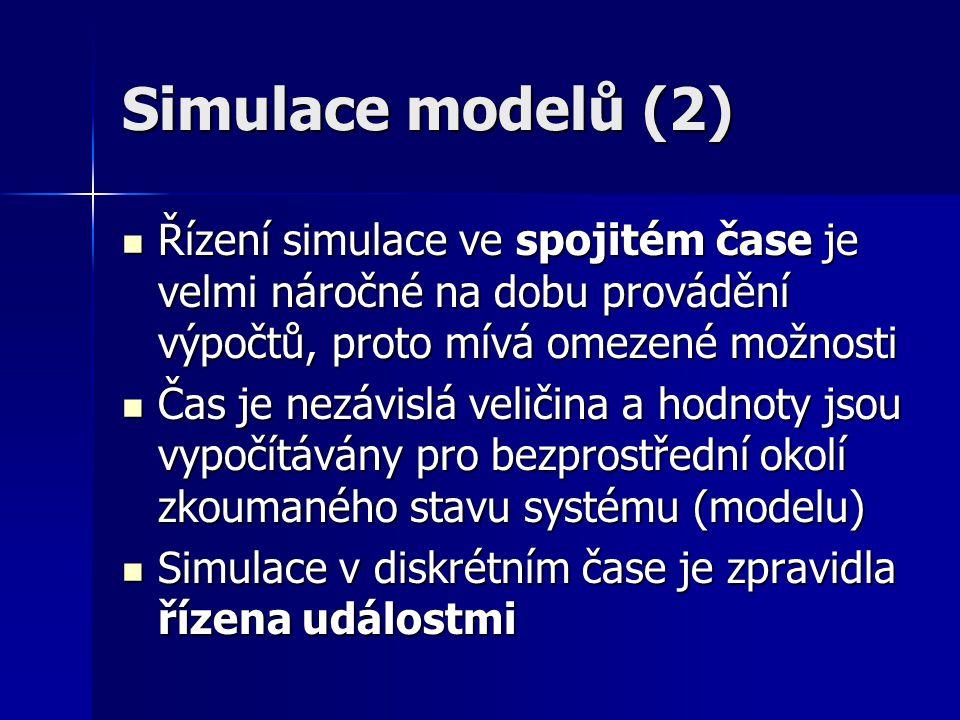 Simulace modelů (2) Řízení simulace ve spojitém čase je velmi náročné na dobu provádění výpočtů, proto mívá omezené možnosti Řízení simulace ve spojit