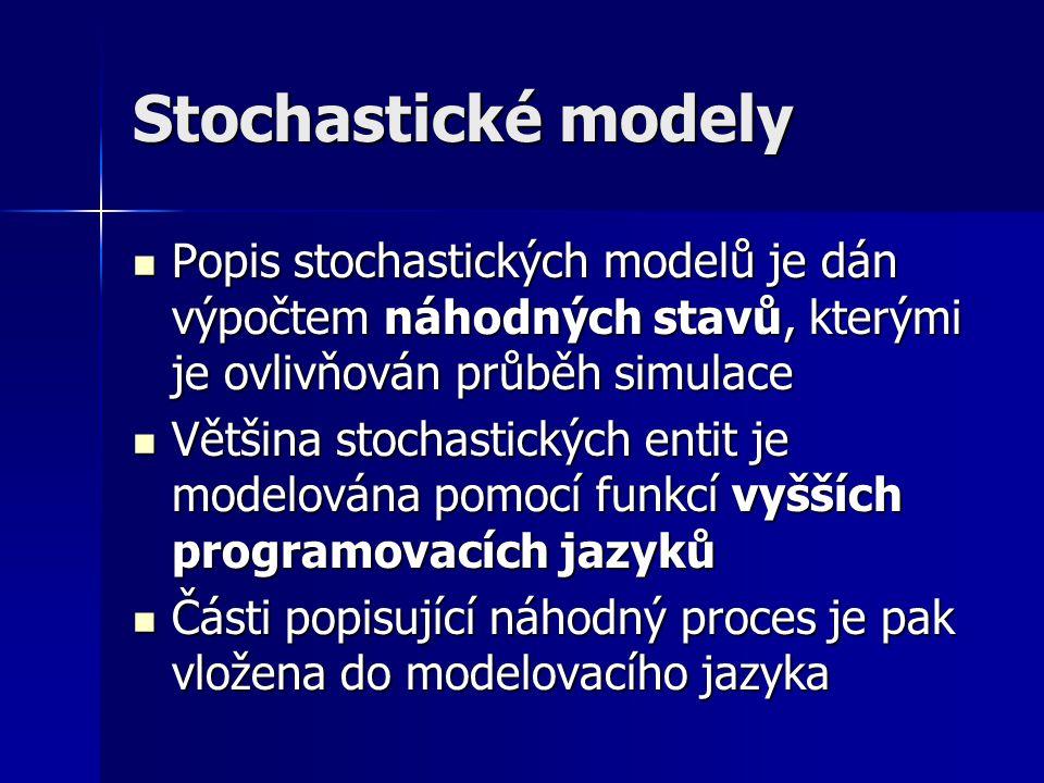 Stochastické modely Popis stochastických modelů je dán výpočtem náhodných stavů, kterými je ovlivňován průběh simulace Popis stochastických modelů je