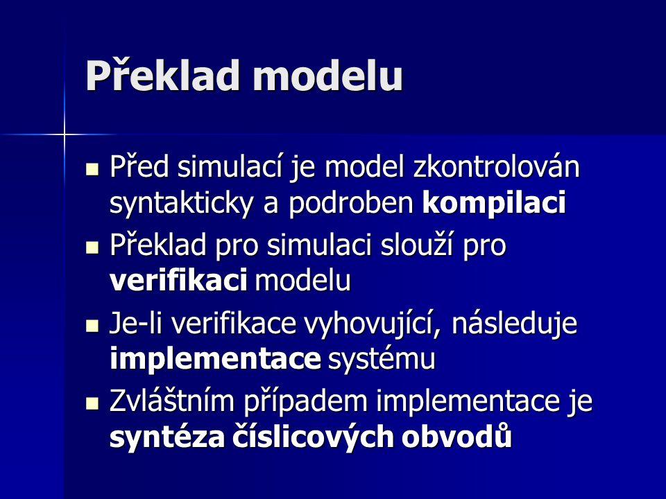 Překlad modelu Před simulací je model zkontrolován syntakticky a podroben kompilaci Před simulací je model zkontrolován syntakticky a podroben kompila