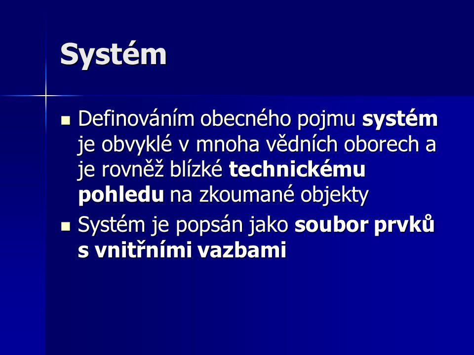 Prvky systému Prvky systému jsou entity, které představují rozkladové (dekompoziční) složky systému Prvky systému jsou entity, které představují rozkladové (dekompoziční) složky systému Prostřednictvím prvků popisujeme vlastnosti systému Prostřednictvím prvků popisujeme vlastnosti systému Popis může být v nejabstraktnějším pojetí popisem chování, které pak určuje chování celého systému Popis může být v nejabstraktnějším pojetí popisem chování, které pak určuje chování celého systému