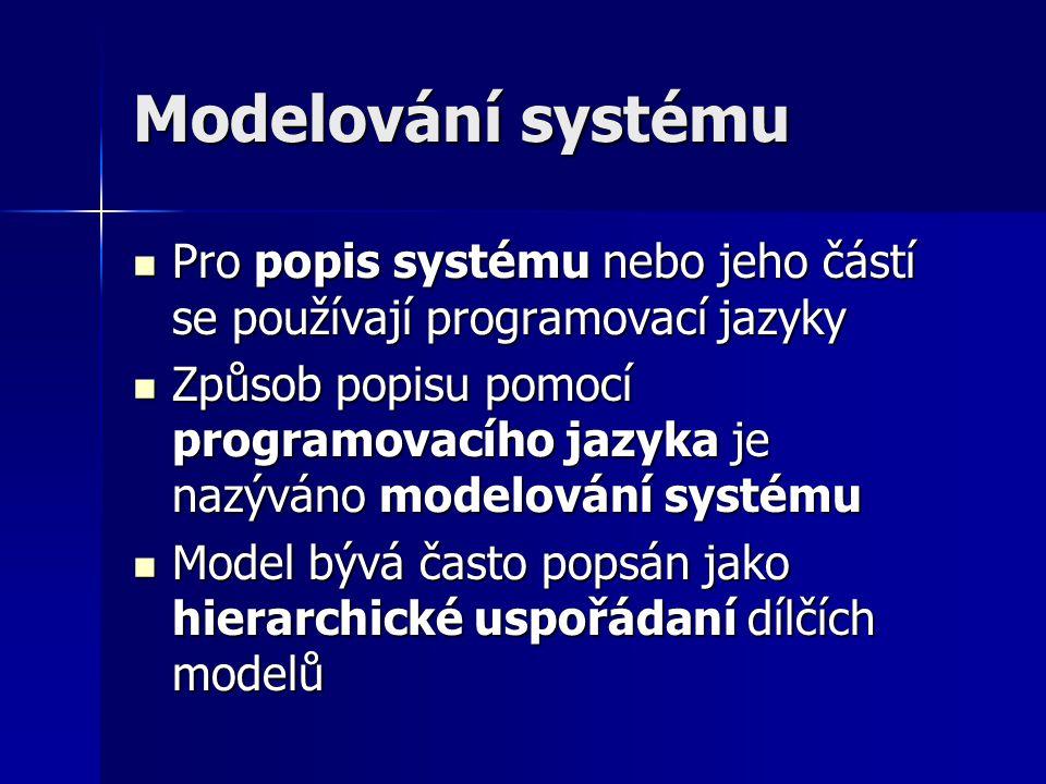 Hierarchický model (1) Hierarchické uspořádání modelu umožňuje modelování složitého systému spojováním jednoduchých modelů pomocí popisu chování, funkce nebo struktury Hierarchické uspořádání modelu umožňuje modelování složitého systému spojováním jednoduchých modelů pomocí popisu chování, funkce nebo struktury Jednotlivé popisy pomocí chování, funkce nebo struktury představují různé stupně abstrakce popisu Jednotlivé popisy pomocí chování, funkce nebo struktury představují různé stupně abstrakce popisu