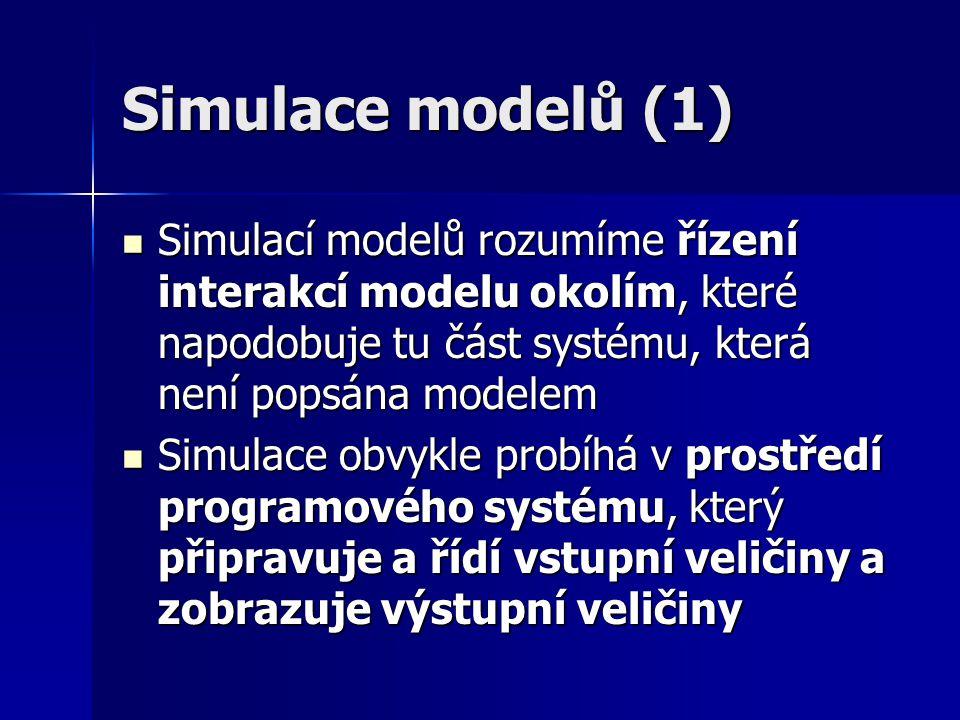 Simulace modelů (2) Řízení simulace ve spojitém čase je velmi náročné na dobu provádění výpočtů, proto mívá omezené možnosti Řízení simulace ve spojitém čase je velmi náročné na dobu provádění výpočtů, proto mívá omezené možnosti Čas je nezávislá veličina a hodnoty jsou vypočítávány pro bezprostřední okolí zkoumaného stavu systému (modelu) Čas je nezávislá veličina a hodnoty jsou vypočítávány pro bezprostřední okolí zkoumaného stavu systému (modelu) Simulace v diskrétním čase je zpravidla řízena událostmi Simulace v diskrétním čase je zpravidla řízena událostmi