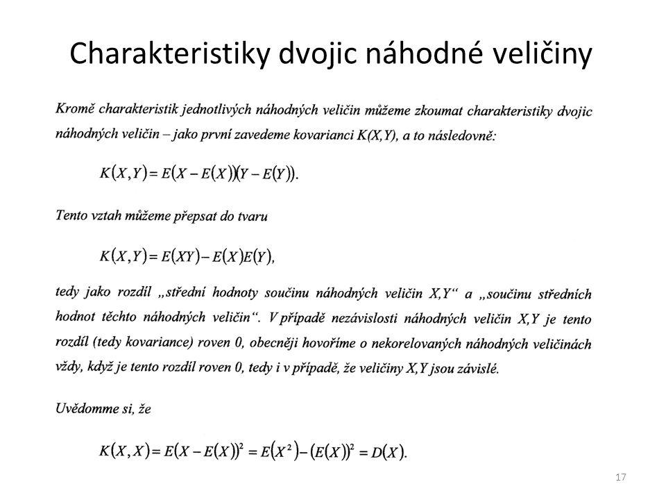 Charakteristiky dvojic náhodné veličiny 17