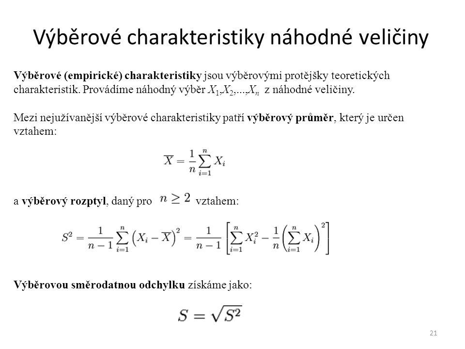 Výběrové charakteristiky náhodné veličiny 21 Výběrové (empirické) charakteristiky jsou výběrovými protějšky teoretických charakteristik. Provádíme náh