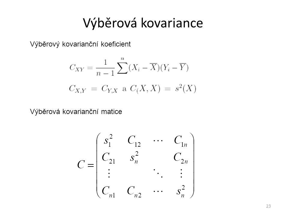 Výběrová kovariance 23 Výběrová kovarianční matice Výběrový kovarianční koeficient