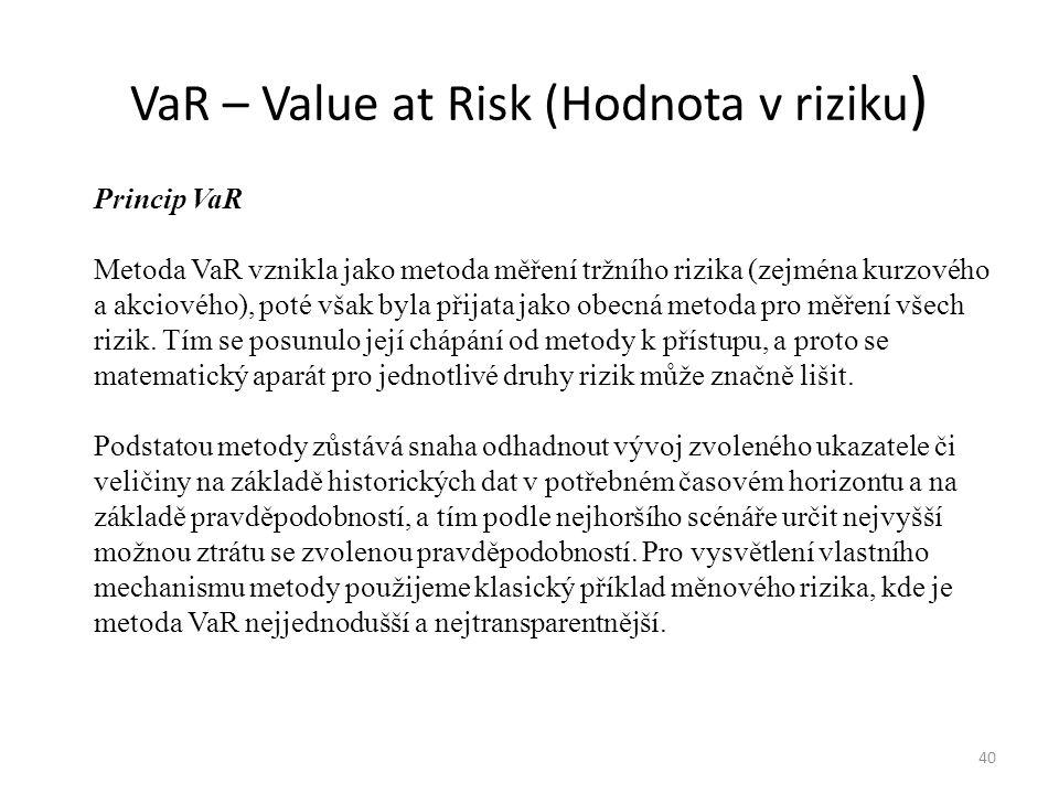VaR – Value at Risk (Hodnota v riziku ) 40 Princip VaR Metoda VaR vznikla jako metoda měření tržního rizika (zejména kurzového a akciového), poté však