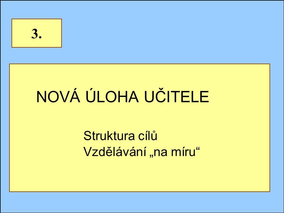 """Jindřichův Hradec, 1.-3.7.2002, Danuse.Bauerova@vsb.cz14 NOVÁ ÚLOHA UČITELE Struktura cílů Vzdělávání """"na míru 3."""