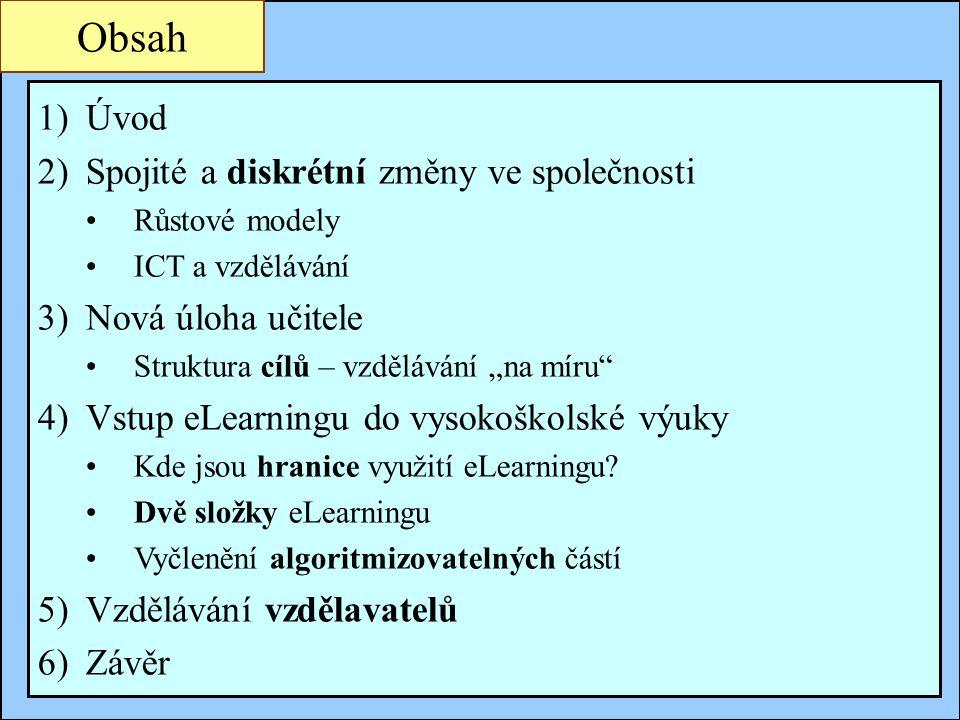 Jindřichův Hradec, 1.-3.7.2002, Danuse.Bauerova@vsb.cz2 Obsah 1)Úvod 2)Spojité a diskrétní změny ve společnosti Růstové modely ICT a vzdělávání 3)Nová
